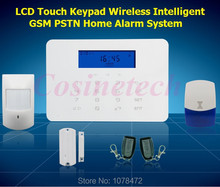 LCD Touch Keypad Wireless wired 433MHZ Home Alarm System,high-level  household security 868MHZ GSM PSTN alarm system