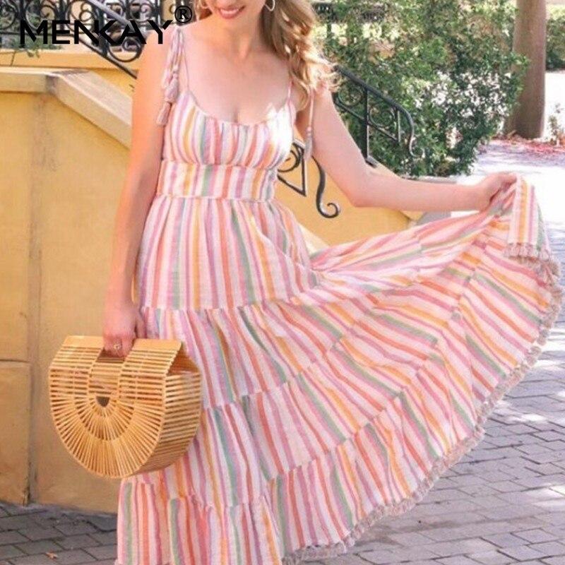 [MENAKY] décontracté Gland Patchwork Longue Rayé Femmes Taille Haute Sans Manches Jupe Robes Femelle 2019 Robe De Plage d'été