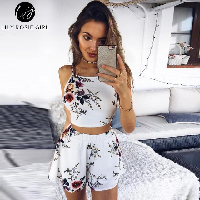 Lily Rosie Girl Two Piece White Floral Boho Backless Sexy Women Jumpsuit Bow Summer Beach Party Playsuit Short Rompers Overalls