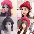 Женщины леди мода 5 цветов теплая зима берет плетеный крючком вязание шляпа девушка багги шапочка Hat лыж Cap