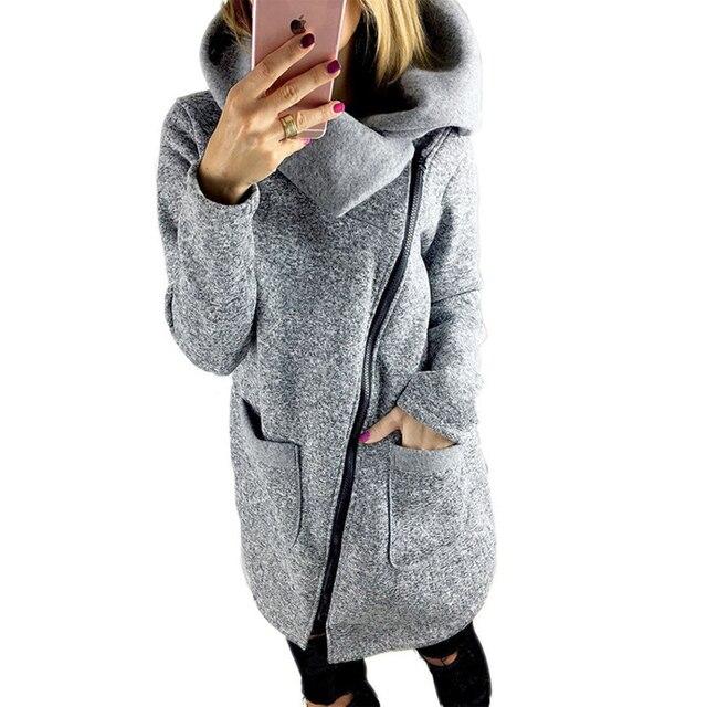 142f93b5f7b33 Plus Size 5XL Autumn Winter Women s Warm Jacket Coats Casual Side Zipper  Turn-Down Collar Long Sleeve Jackets Female Hooded
