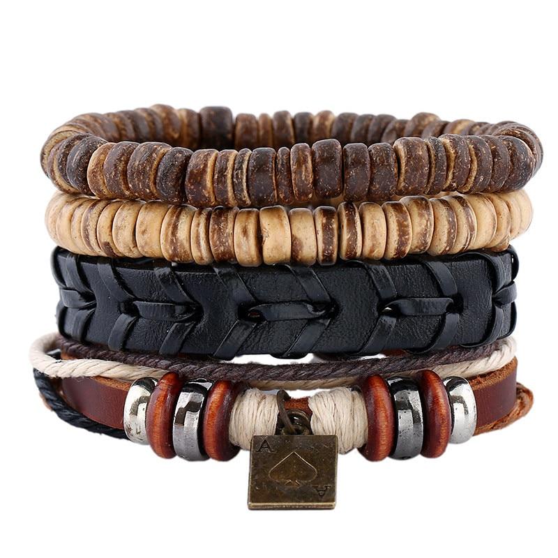 4 PCS 1 Set Punk Genuine Wrap Leather Bracelets Men With Pork Charm Pendant DIY Handmade beads Jewelry