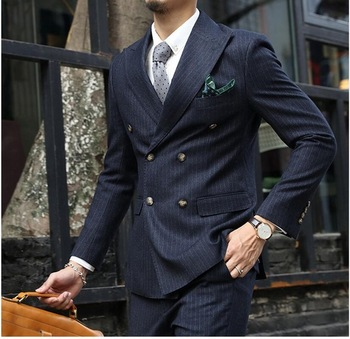 2017 New Stripe Men Suits in Dark Navy Color Mens Striped Suits Double Breasted Men Suits With Ticket Pocket (Jacket+Pants+Tie)
