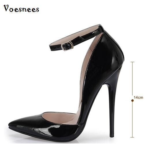 Genuine Pumps Super High 14cm High-heeled Shoes Woman Pointed Toe Thin Heel Shallow Mouth Office & Career Shoes Plus Size 44 burgundy gray saphire blue pink women dress party career work shoes flock shallow mouth stiletto thin high heel pumps