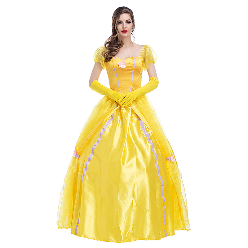 Halloween Beauty and the beast Women Belle Princess dress Classic ball gown yellow fancy dress any size
