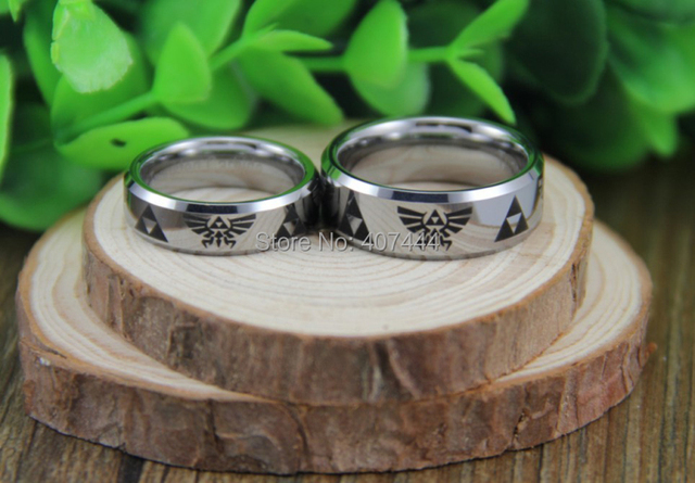 Free Shipping YGK JEWELRY Hot Sales 6mm/8mm Silver Beveled New Men's Comfort Fit Legend of Zelda Tungsten Rings
