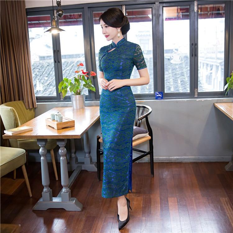 New Arrival Fashion Lace Long Cheongsam Green Chinese Women s Dress Elegant Qipao Vestidos Size S