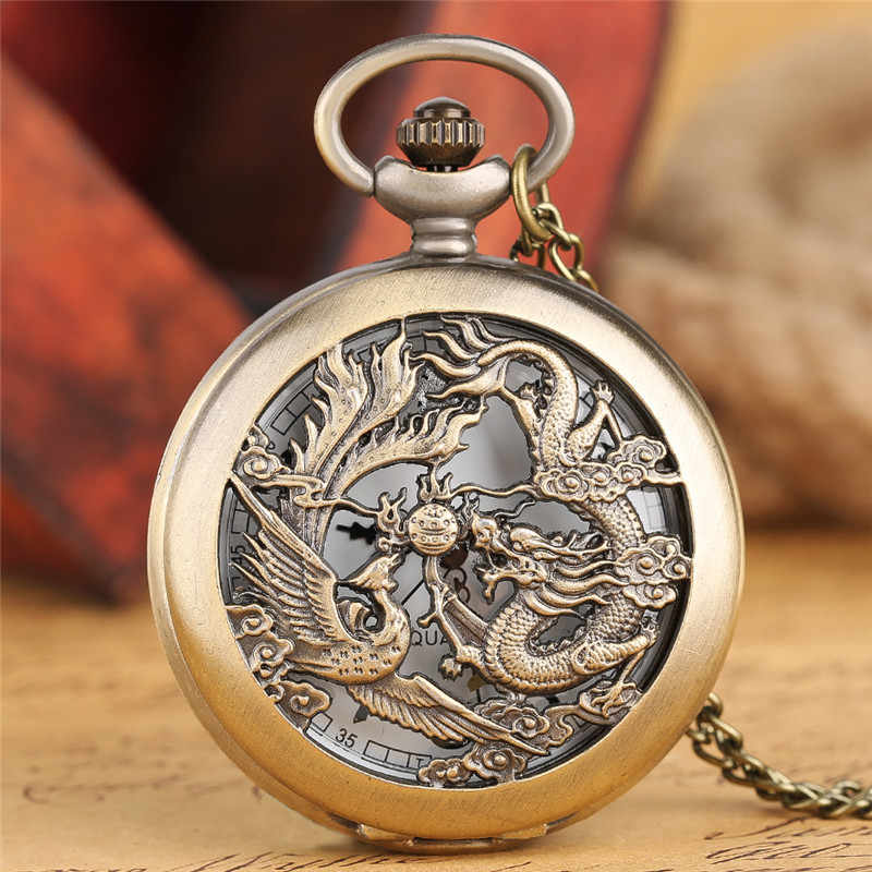 Vintage Chinese Flying Dragon Phoenix Pendant Bronze Pocket Watch Necklace Chain Gift Quartz Watch Children Relogio De Bolso