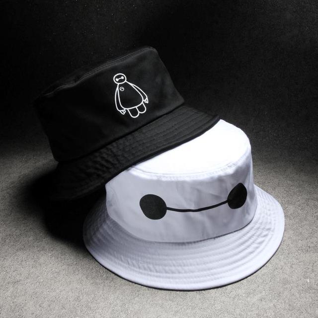 a0826bd6969 High Quality Big Hero bucket hats hip hop Baymax white black fishing hat  cotton summer sun hat 3C383