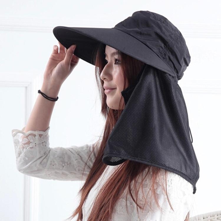Новое поступление открытый широкие Полями Летняя Съемная Солнцезащитная шляпа для женщин лицо шеи крышка откидной козырек УФ шапки 5 цветов - Цвет: Black