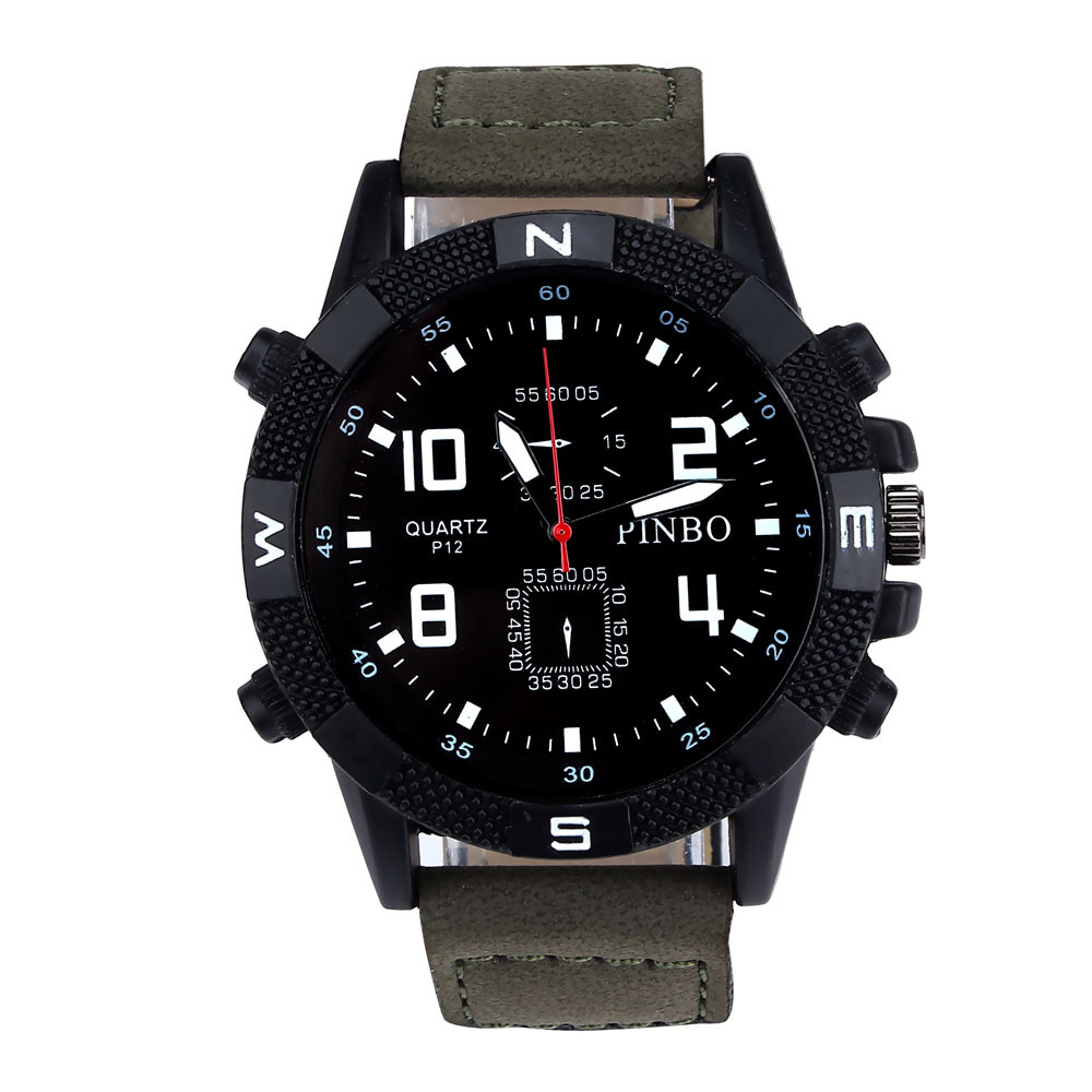Luxury Men's Watches PU Leather strap Large Dial Military Sport Quartz Wrist Watch relogio masculino montre homme 2018