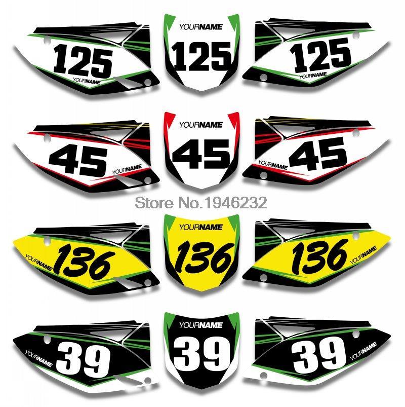 NICECNC Custom Number Plate Sticker Decal & Backgrounds Graphics For Kawasaki KX250F KXF250 2009 2010 2011 2012 KX 250F KXF 250 nicecnc cnc forged rear foot brake pedal lever for kawasaki kx250f 2004 2016 2006 2008 2010 2012 20104 2015 kx 250f