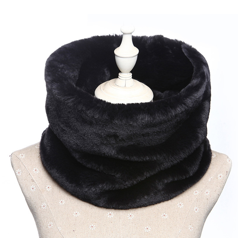 Woman Winter Scarf Faux Fur Neck Warmer Furry Reversible Short Twist Wrap Around Infinity Scarf AA10074