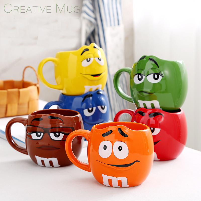 Genuine American M Chocolate Beans Mugs Cups Cartoon Expression Design Ceramics Coffee Milk Breakfast Cup For Christmas Gift taza de m&m