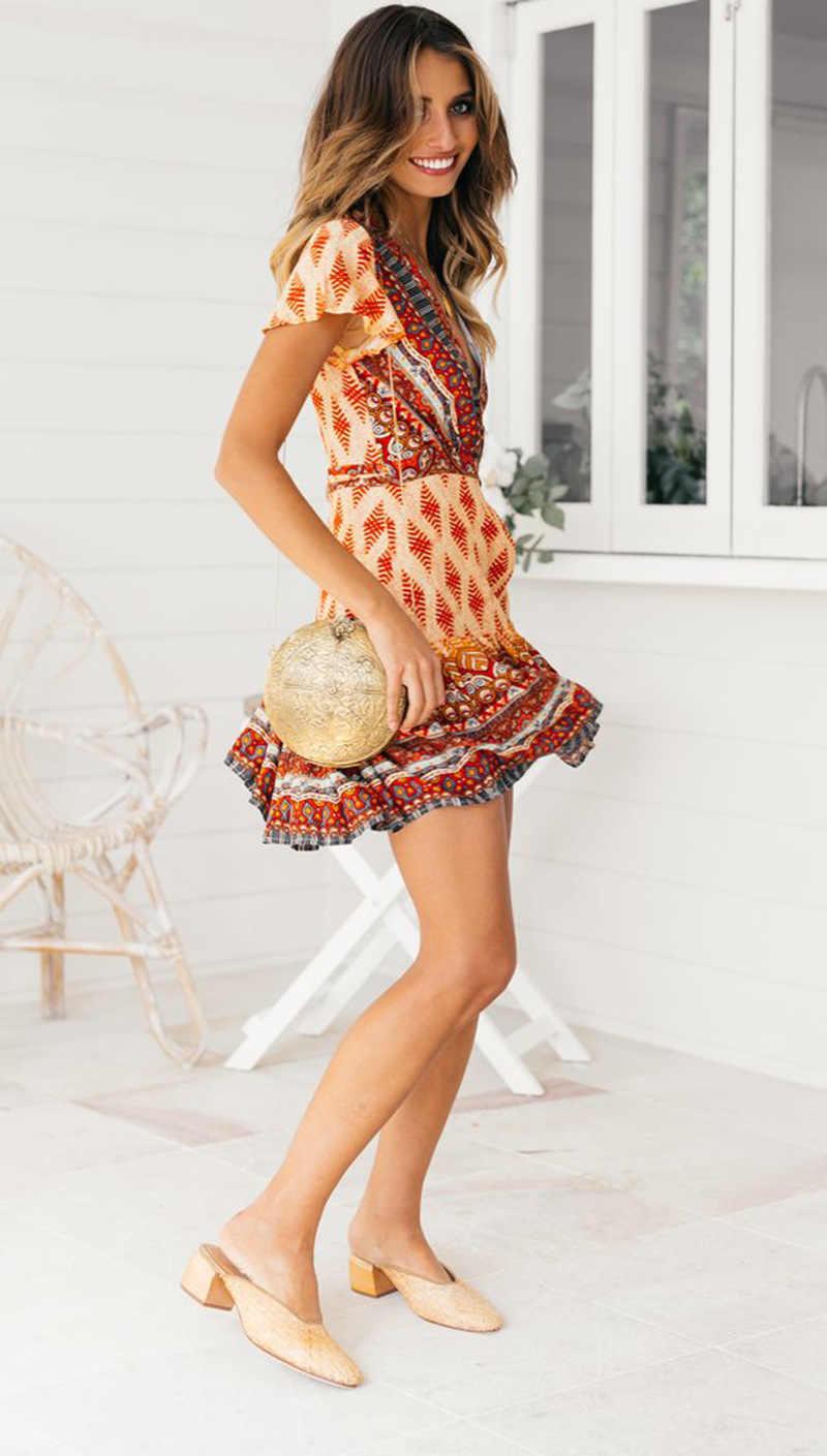 2019 весенне-летние женские пляжные каникулы винтажные вечерние платья с принтом сексуальное платье с v-образным вырезом и коротким рукавом повседневное модное тонкое платье трапециевидной формы