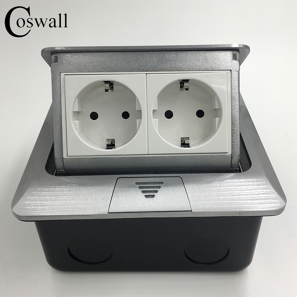 Manufacturer All Aluminum Panel EU Standard Pop Up Floor Socket 2 Way Electrical Outlet Modular Combination Customized Available manufacturer all aluminum panel pop up floor socket eu standard electrical dual outlet with 2 usb charging port for mobile