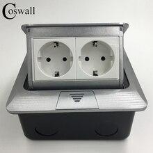 Fabricante De Aluminio Pop-Up Piso Zócalo Estándar de LA UE de 2 Vías Toma de Corriente Eléctrica Combinación Modular Personalizado Disponible