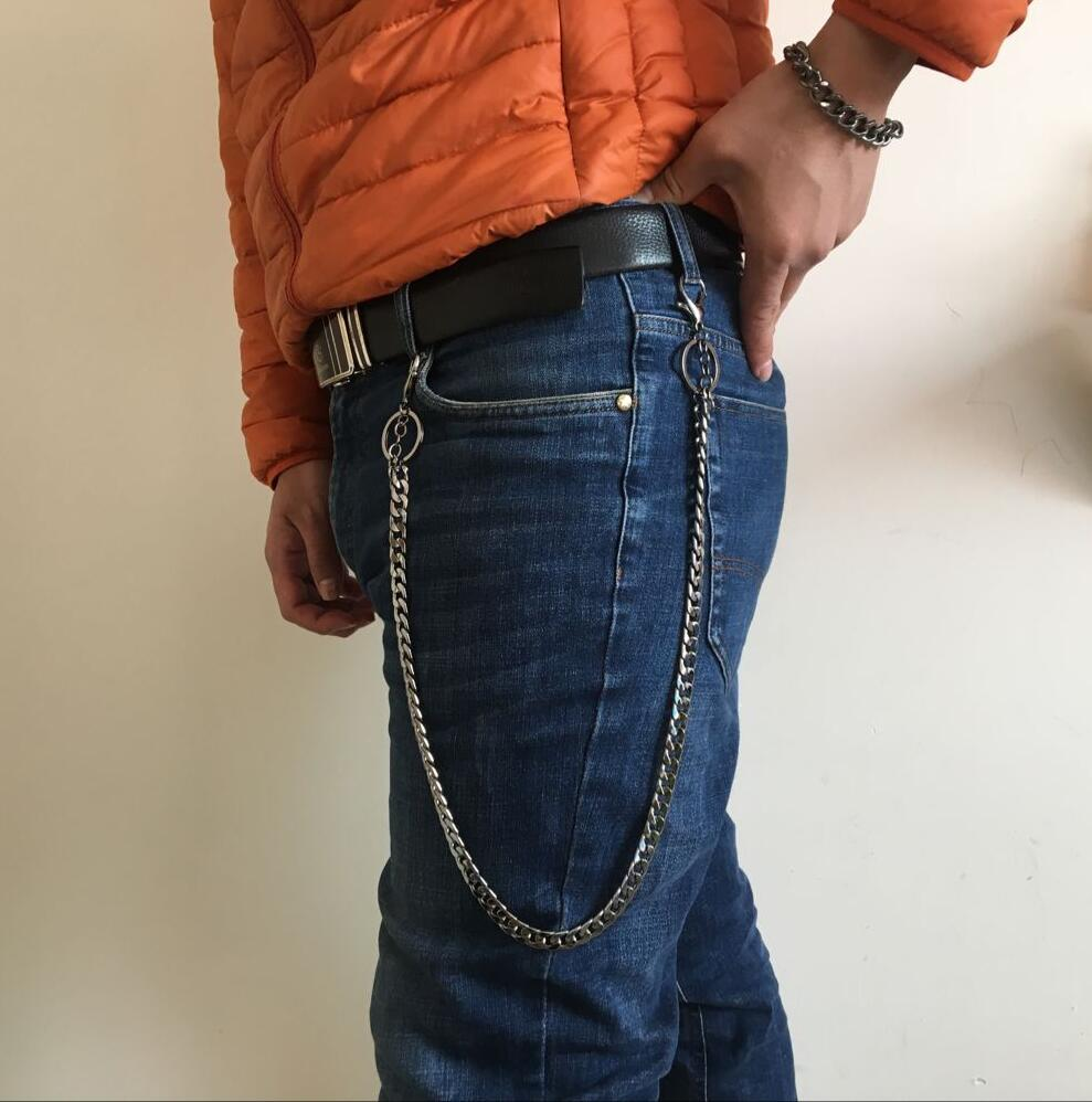 1set New Punk bicycle Belly Chain Jeans Metal Skull Cross Trousers Chain for Pants hiphop Men Wallket Key Chain