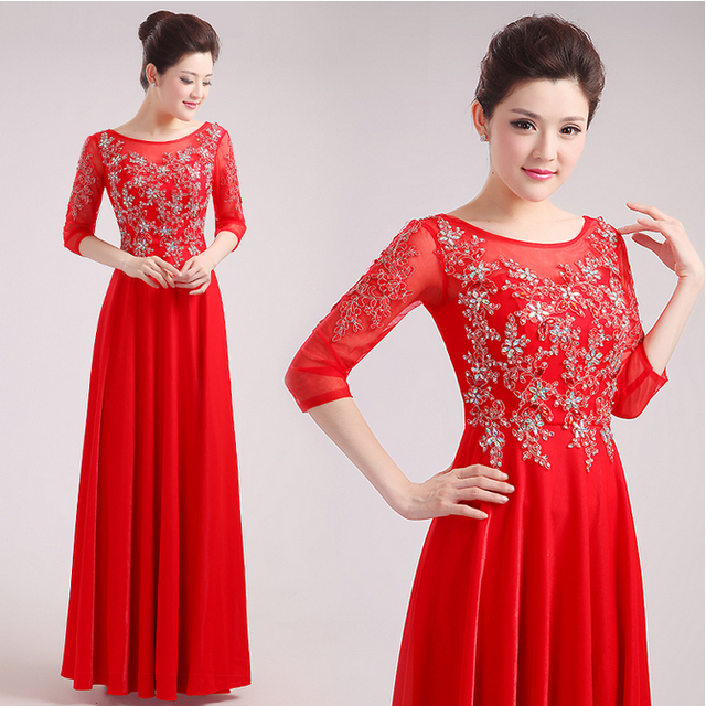 high fashion 2017 long red formal elegant latest 3 4 sleeved a line ...
