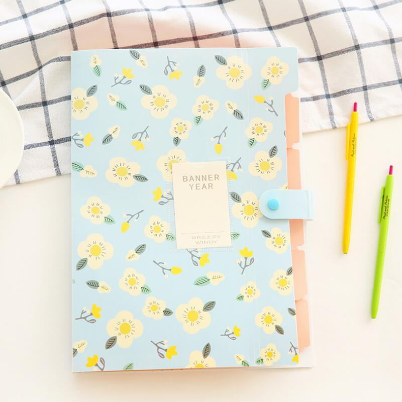 A4 Multi-Layer Information Papers File Storage Folder 8 Into Floral Series Student Papers Office Materials Organize Storage Bags
