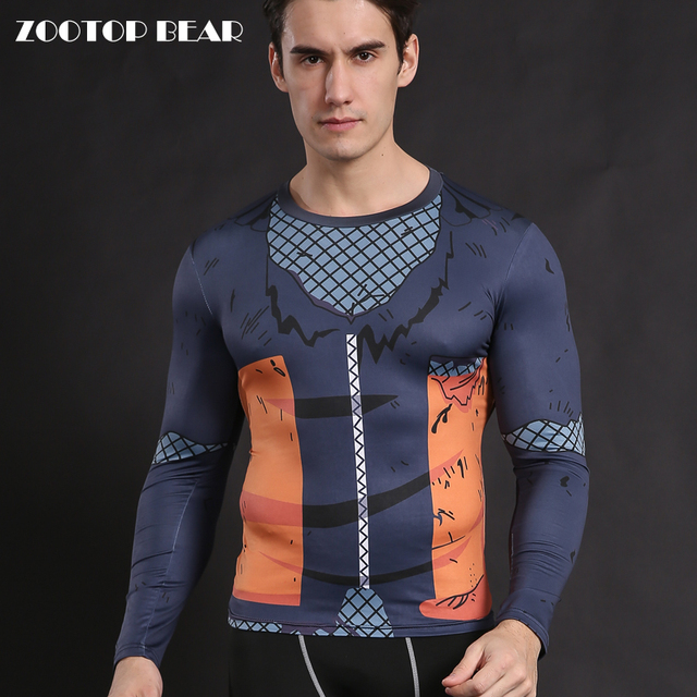 Naruto Men T-shirt Compression Tight Fitness Crossfit Clothing