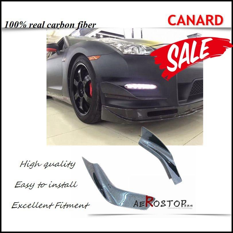 CARBON FIBER KANSAI STYLE FRONT BUMPER CANARDS FOR 12-16 R35 GTR