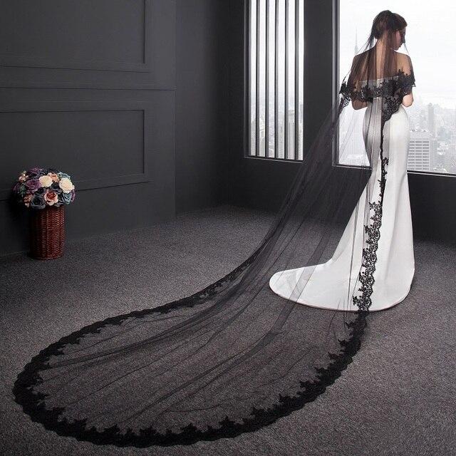 da0dc1f822 En Stock boda accesorio velo negro 3 metros de longitud con borde de encaje  largo