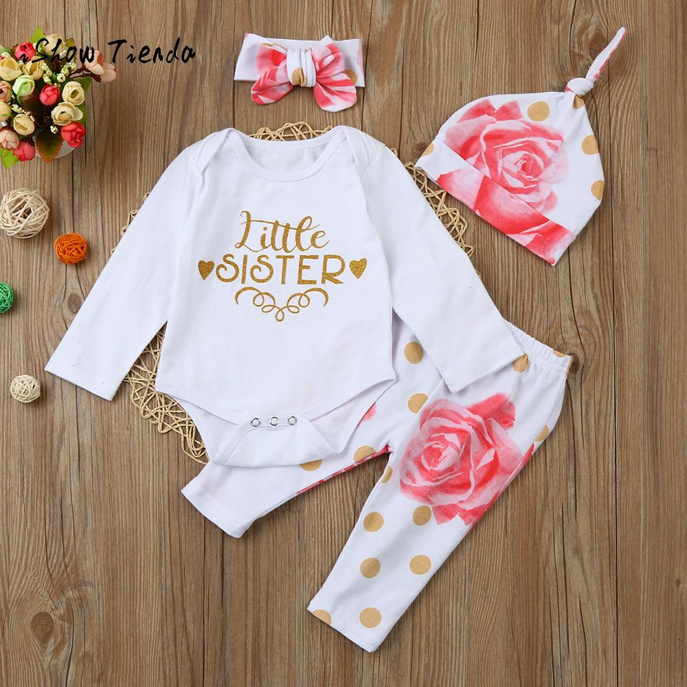 ISHOWTIENDA 4pcs baby girl clothes for newborn girls Top baby romper+Floral Pant jumpsuit baby hat costume for baby girl outfits