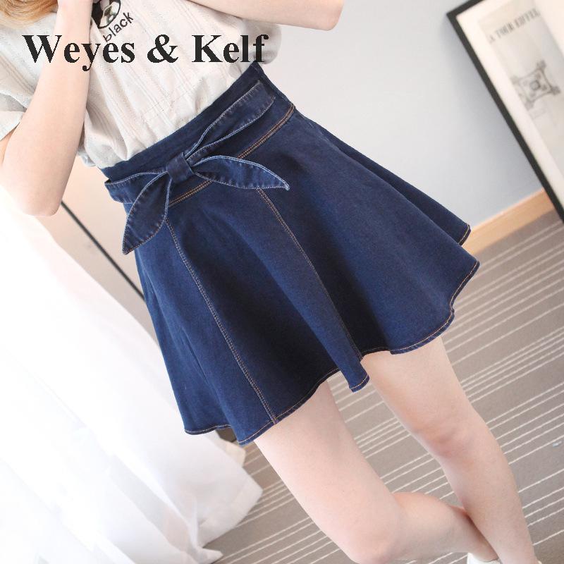 Casual Haute Plissée Cowboy Blue Solide Femmes 2018 D'été Weyes Arc Kelf Jupe Mini amp; Jupes Taille Femelle Denim Eqvq4R