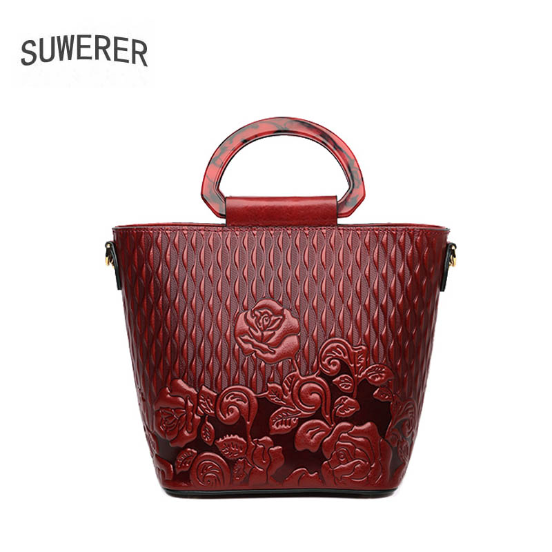 SUWERER 2019 new Genuine Leather women bags top Cowhide Embossed Flowers luxury handbags designer tote women leather handbags