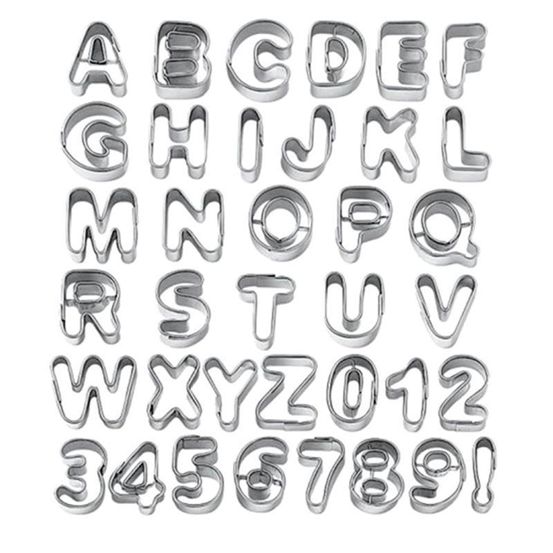 37 Pcs Kurabiye Kesici Paslanmaz çelik Alfabe Numarası Mektup