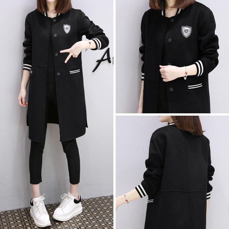 Nouveau printemps coréen grand manteau lâche filles long code printemps étudiant BF baseball uniforme veste marée