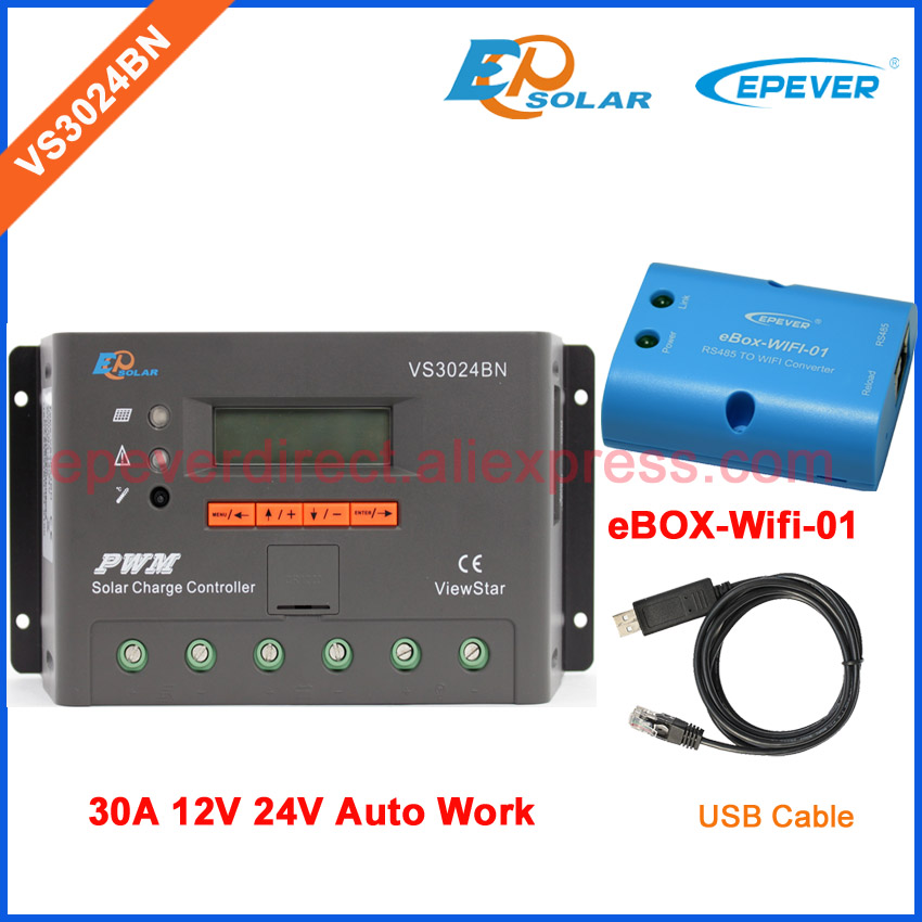 EPEVER PWM Solar controller EPsolar VS3024BN with wifi BOX and USB connector cable PC communication 30A 12V 24V Auto Work vs3024bn new pwm controller network access computer control can connect with mt50 for communication