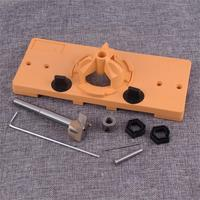 LETAOSK 35MM Yellow Cup Style Concealed Hinge Jig Guide Set Boring Hole Template Bit Drill Woodworking Accessories