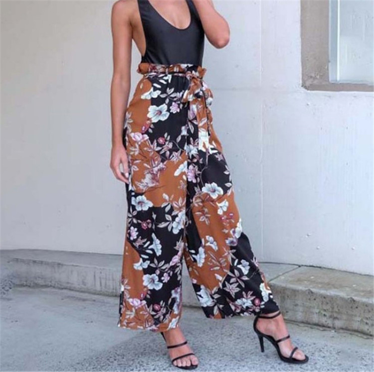 Spring Summer 2018 floral Print casual   pants     capri   trousers Flower female soft   pants   women bottoms high waist wide leg   pants   K02