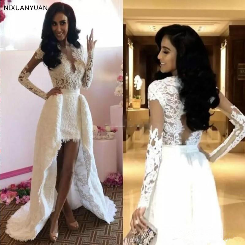 2019 New Short Front Long Back Lace Wedding Dresses Long Sleeve Detachable Train V Neck Hollow Back High Low Bridal Gowns