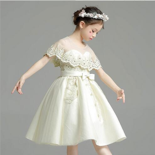 Girls Champagne Dress Elegant Cute Kids Pageant Girl Princess Wedding Dresses High Grade Childrens Belle Clothes In From Mother On