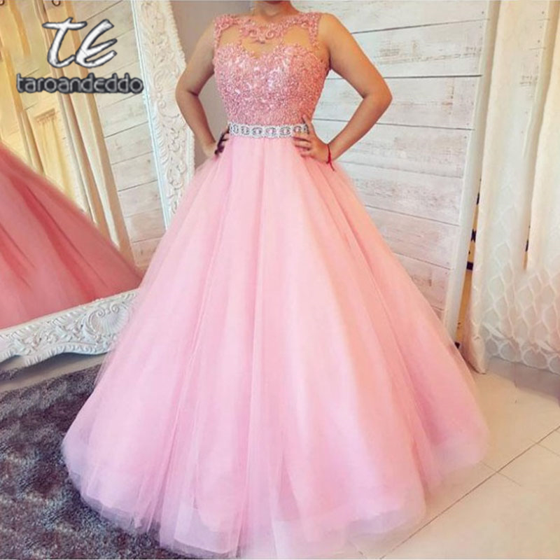Scoop Long   Prom     Dresses   Lace Applique Illusion Back A Line Sleeveless Beading Sash Evening Formal Party   Dress   Vestido De Fiesta