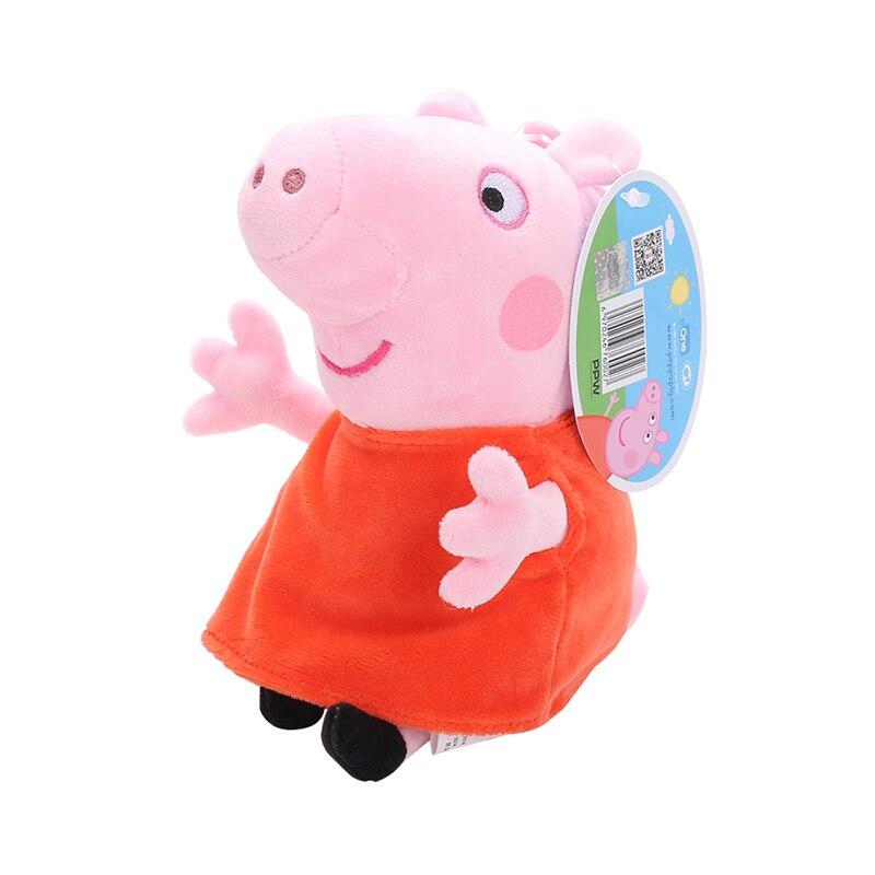 Оригинальные 19 см Свинка Пеппа Джордж Животные Мягкие плюшевые игрушки мультфильм семья друг свинка вечерние куклы для девочек детские подарки на день рождения - Цвет: Peppa no pet