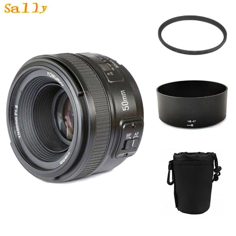 YONGNUO YN 50mm YN50mm f/1.8 AF MF objectif + pare-soleil + filtre UV + étui d'objectif mise au point automatique pour appareil photo Nikon AF-S 50mm 1.8G