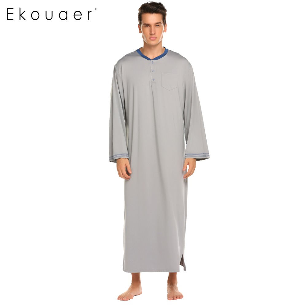 Ekouaer Men Sleep Tops Nightwear Long Sleeve Loose Long Sleep Shirts Sleepwear Male Plus Size Home Clothes Nightshirts M-XXL