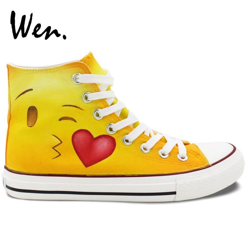 Prix pour Wen Custom Design Planche À Roulettes Chaussures Peint À La Main Emoji Motif High Top Toile Sneakers Hommes Femmes Cadeaux