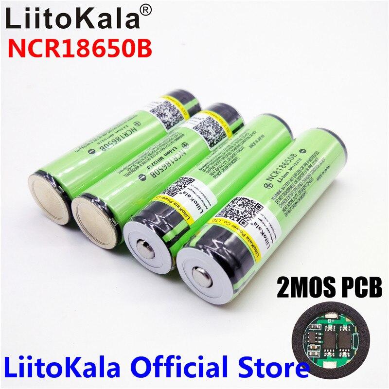 2017 Original LiitoKala 18650 3400 mAh batterie 3,7 V Li-Ion akku Rechargebale PCB Geschützt Für panasonic NCR18650B 18650 3400