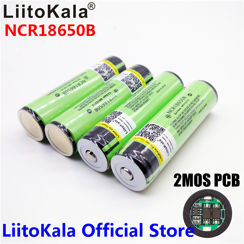 2017 Original LiitoKala 18650 3400mAh battery 3.7V Li-ion Rechargebale battery PCB Protected For  NCR18650B 18650 3400