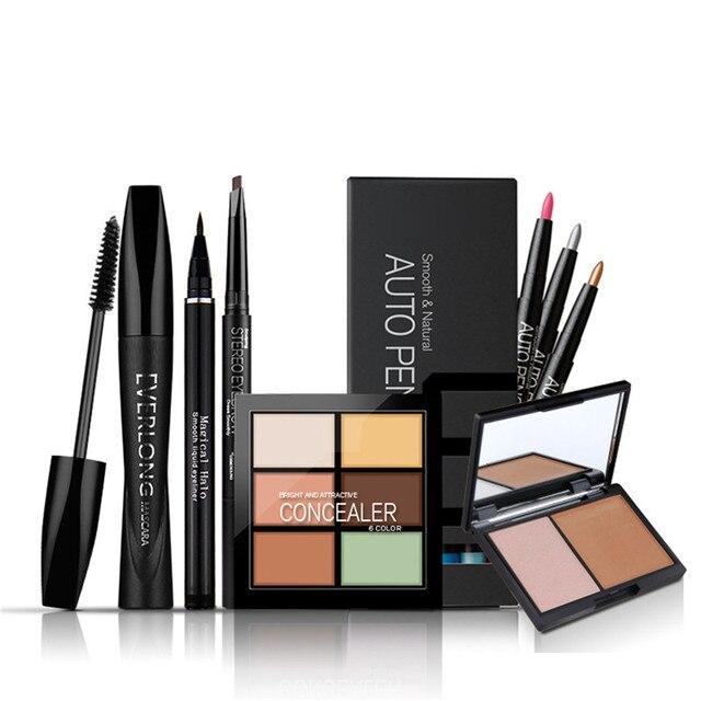 Water-soluble Eyeliner+Eyebrow Enhancer Pencil+Thick Curling Mascara+12pcs Eye Shadow Pencil+Concealer+Stereo Bronzing Powder
