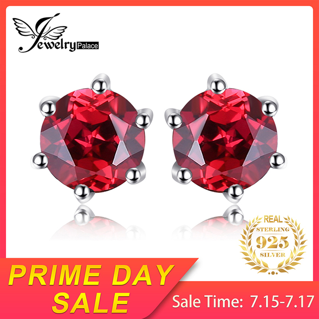 Natural Garnet Stud Earrings