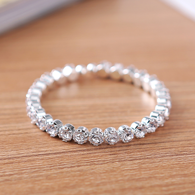 1 Row Elegant Crystal Rhinestone Stretch Bracelet Bangle Wedding Bridal Wristband Silver Plated Jewelry Accessorie