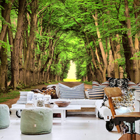 Free Shipping The Green Woods Road Large Mural Bar Cafe Lounge Restaurant Bedroom Wallpaper Wallpaper