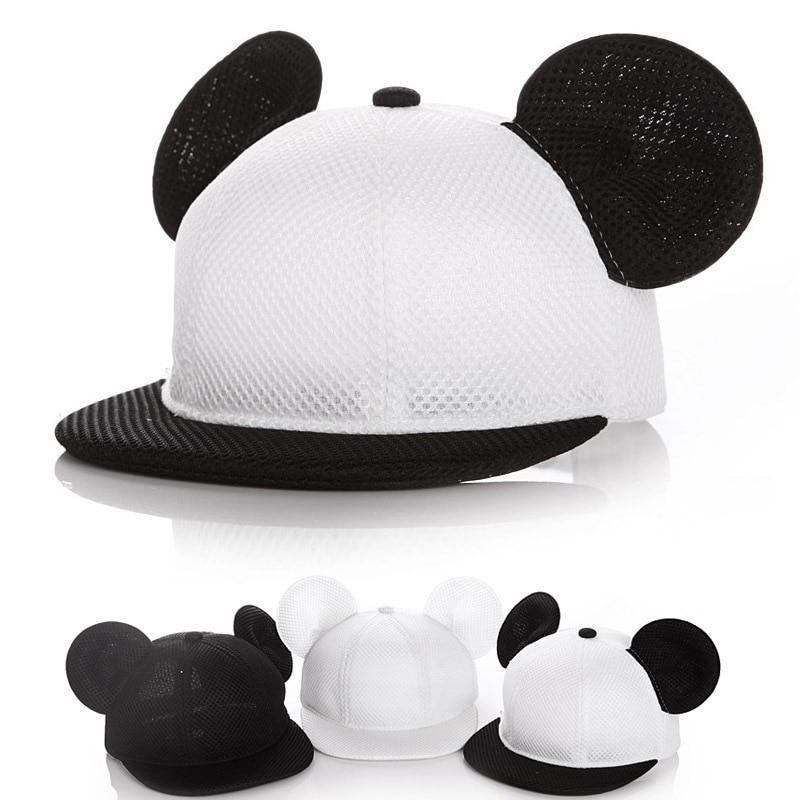 2018 Children Lovely Mickey Big Ears   Baseball     Cap   Girls Cute Mouse Hip Hop   Caps   Casual Summer Mesh Sun Hats Casquette Gift