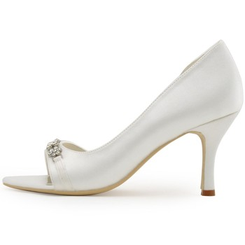 White Prom Shoes | EP2083 Women Shoes White Ivory Prom Party Pumps High Heel Crystal Satin Lady Bride Bridesmaids Wedding Bridal Shoes Silver